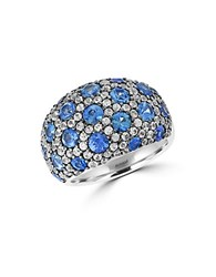 Effy Blue Sapphire White Sapphire And Sterling Silver Ring