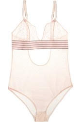 Stella Mccartney Millie Drawing Lace And Swiss Dot Tulle Bodysuit