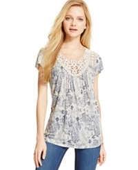 Jolt Juniors' Lace Front Printed Tunic Top Knockout N