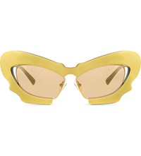 Prabal Gurung Pg1 Sculptural Mask Cat Eye Sunglasses Gold And Black