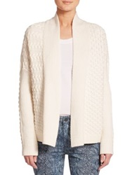 Tory Burch Mixed Cable Knit Cardigan White
