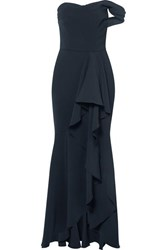 Marchesa Notte Off The Shoulder Draped Crepe Gown Navy