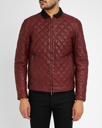 Armani Jeans Red Leather Padded Biker Jacket Navy Velvet Collar