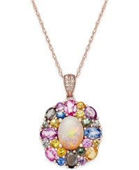Macy's Opal 1 Ct. T.W. Multi Sapphire 3 1 6 Ct. T.W. And Diamond Accent Pendant Necklace In 14K Rose Gold