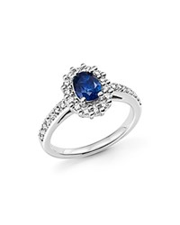 Bloomingdale's Sapphire Oval And Diamond Halo Ring In 14K White Gold Blue White