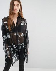 Religion Oversized Boyfriend Shirt In Bird Print Jet Black H Grey Multi