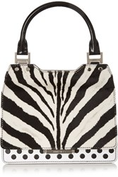 Jimmy Choo Amie Zebra Print Calf Hair And Leather Tote Black