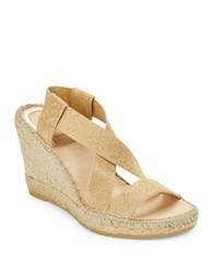 Vidorreta Max Cross Strap Espadrilles Platform Wedge Sandals Gold