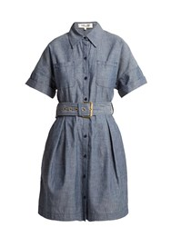 Diane Von Furstenberg Belted Cotton Chambray Dress Blue