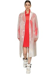 Maison Martin Margiela Iridescent Sheer Distressed Trench Coat Transparent
