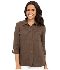 Kut From The Kloth Elva Long Sleeve Button Up Top Olive Women's Long Sleeve Button Up