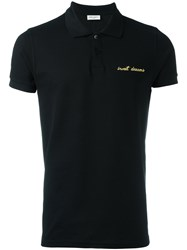 Saint Laurent Sweet Dreams Embroidered Polo Shirt Black