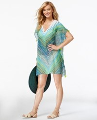Bleu By Rod Beattie Printed Chiffon Poncho Cover Up Women's Swimsuit Twilight Multi