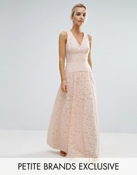 Little Mistress Petite Allover Lace Full Prom Maxi Dress Nude Pink