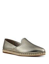 Nine West Unrico Metallic Leather Espadrilles Pewter