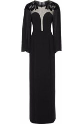 Jenny Packham Embellished Paneled Lace Georgette And Crepe Gown Black