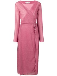 Danielapi Metallic Knit Wrap Dress Pink