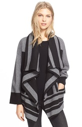 Burberry Brit Drape Front Wool And Cashmere Sweater Jacket Black
