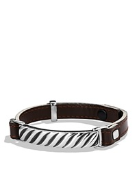 David Yurman Modern Cable Id Bracelet In Brown Leather Silver Brown