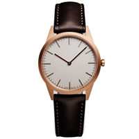 Uniform Wares C35 Wristwatch Pvd Rose Gold And Brown Leather