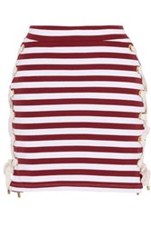 House Of Holland Lace Up Striped Stretch Cotton Jersey Mini Skirt Burgundy