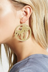 Forever 21 Palm Tree Drop Earrings Gold