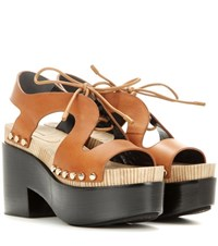 Balenciaga Leather Platform Sandals Brown