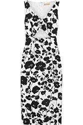 Michael Kors Cutout Floral Print Textured Cotton And Silk Blend Dress White Black