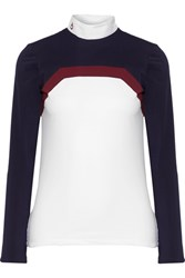 Cavalleria Toscana Frame Line Show Poplin Trimmed Stretch Jersey Top White