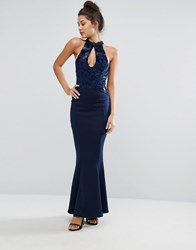 Lipsy Michelle Keegan Loves Halter Maxi With Fishtail Navy