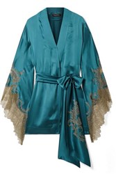 Carine Gilson Chantilly Lace Trimmed Silk Satin Robe Petrol