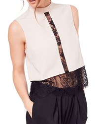 Miss Selfridge Sleeveless Lace Inset Top Beige