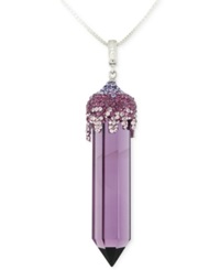Sis By Simone I Smith Swarovski Crystal Pendant Necklace In Platinum Over Sterling Silver