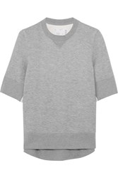 Sacai Poplin Paneled Cotton Blend Jersey Sweatshirt Light Gray