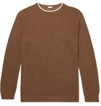 Caruso Contrast Tipped Silk And Linen Blend Sweater Neutrals