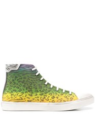 Saint Laurent Leopard Print High Top Sneakers Green