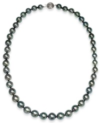 Macy's Tahitian Pearl Strand Necklace In 14K White Gold 8Mm Gray