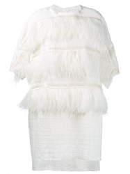 Faith Connexion Ostrich Feather Trim Dress White