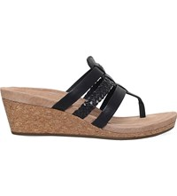 Ugg Maddie Strappy Leather Wedge Sandals Black