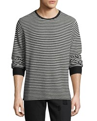 Ovadia And Sons Striped Knit Wool Sweater Black Cream