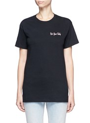 Double Trouble 'Not Your Baby' Slogan Embroidered T Shirt Black