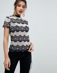 Morgan Allover Contrast Lace Top Multi