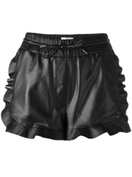 Carven Drawstring Leather Shorts Black