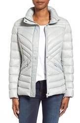 Women's Halogen Hooded Quilted Down Jacket Grey Prelude