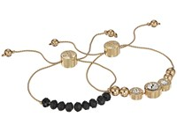 Guess Two Piece Slider Bracelet Set With Bead And Stone Accents Gold Black Crystal Bracelet