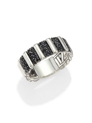 John Hardy Bedeg Sterling Silver And Black Sapphire Ring