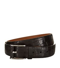 Zilli Crocodile Skin Belt Unisex Black