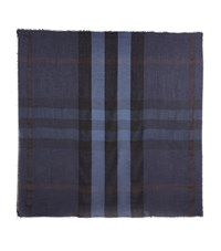 Burberry Shoes And Accessories Lightweight Check Scarf Female Blue