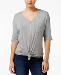 Rebellious One Juniors' Knotted Henley T Shirt Heather Grey
