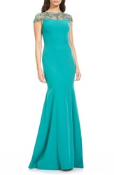 Theia Women's Embellished Stretch Mermaid Gown